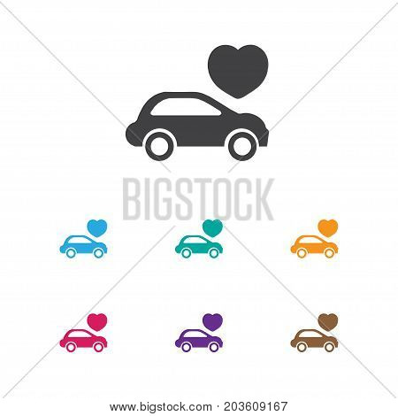 Vector Illustration Of Amour Symbol On Automobile Icon