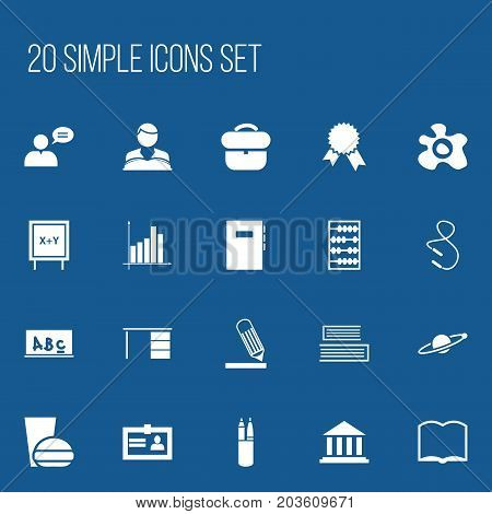 Set Of 20 Editable Science Icons. Includes Symbols Such As Thinking Man, Pen Case, Book And More