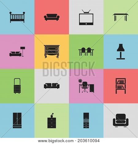 Set Of 16 Editable Furniture Icons. Includes Symbols Such As Bookrack, Child Cot, Trestle And More
