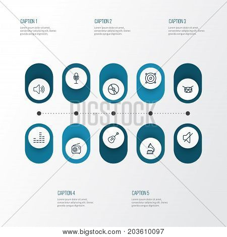 Music Outline Icons Set. Collection Of Audio Level, Strings, Orator And Other Elements