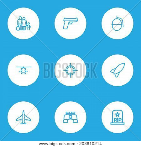 Battle Outline Icons Set. Collection Of Zoom Glasses, Rip, Bomb And Other Elements