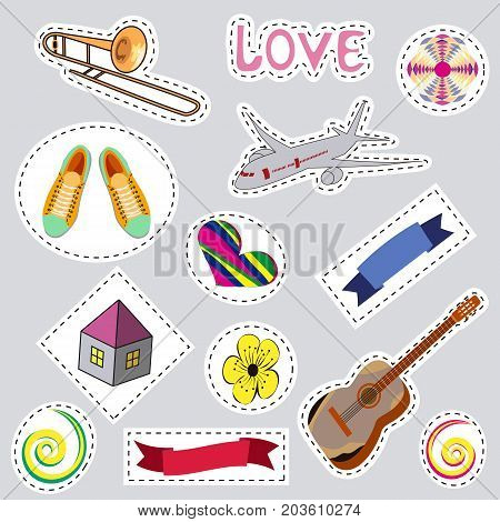 Fashionable  patches with isolated elements . Set of stickers, pins, patches in cartoon comic style.