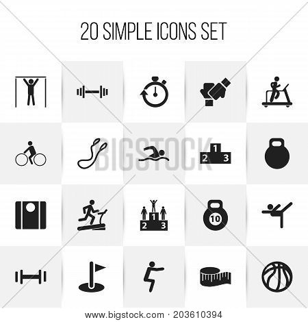 Set Of 20 Editable Fitness Icons. Includes Symbols Such As Strength, Gauntlet, Basket Play And More