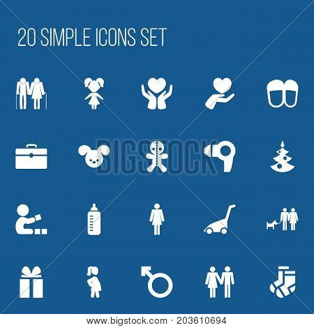 Set Of 20 Editable Family Icons. Includes Symbols Such As Hosiery, Girl, Man Emblem And More