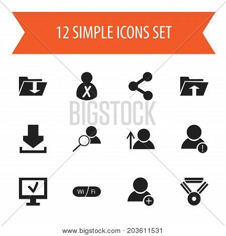 Set Of 12 Editable Web Icons. Includes Symbols Such As Magnifier, Computer, Medal And More