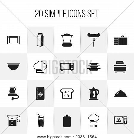 Set Of 20 Editable Cooking Icons. Includes Symbols Such As Cutting Surface, Dish, Chef Cap And More