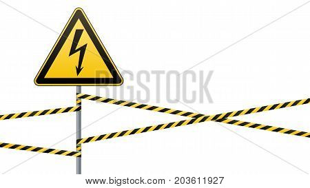 Warning sign. Electrical hazard. Fenced danger zone. pillar with sign. Vector illustration