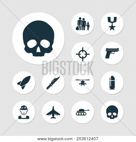 Battle Icons Set. Collection Of Aircraft, Fugitive, Order And Other Elements