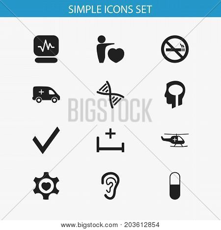 Set Of 12 Editable Health Icons. Includes Symbols Such As Genome, Pulse, Intelligence And More