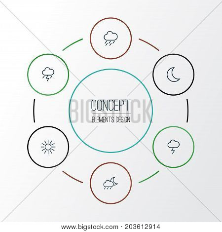 Climate Outline Icons Set. Collection Of Lightning, Rainstorm, Sun And Other Elements