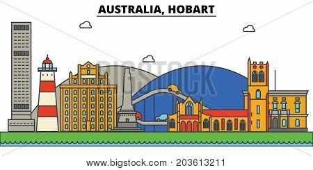 Australia, Hobart. City skyline: architecture, buildings, streets, silhouette, landscape, panorama, landmarks. Editable strokes. Flat design line vector illustration concept. Isolated icons