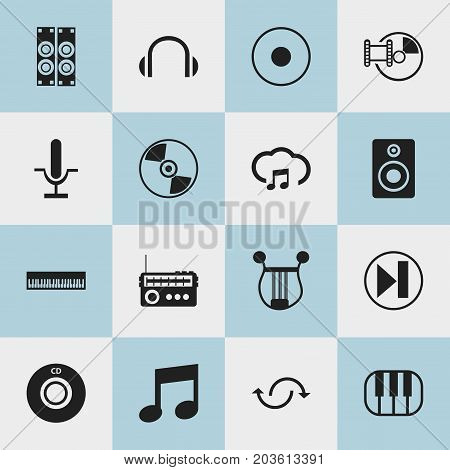 Set Of 16 Editable Music Icons. Includes Symbols Such As Audio Bass, Broadcasting, Rec And More
