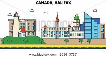 Canada, Halifax. City skyline: architecture, buildings, streets, silhouette, landscape, panorama, landmarks. Editable strokes. Flat design line vector illustration concept. Isolated icons