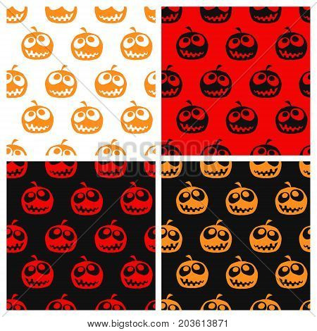 Set of seamless halloween pattern. Halloween background with pumpkin. Vector illustartion.
