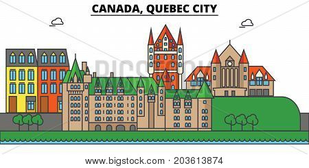 Canada, Quebec City. City skyline: architecture, buildings, streets, silhouette, landscape, panorama, landmarks. Editable strokes. Flat design line vector illustration concept. Isolated icons