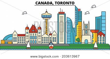 Canada, Toronto. City skyline: architecture, buildings, streets, silhouette, landscape, panorama, landmarks. Editable strokes. Flat design line vector illustration concept. Isolated icons