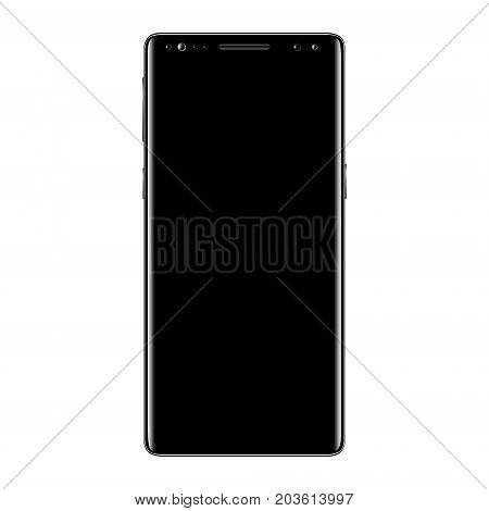 Black smartphone isolated on white background. Mobile phone with blank screen. Cell phone mockup design. Vector illustration.