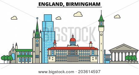England, Birmingham. City skyline: architecture, buildings, streets, silhouette, landscape, panorama, landmarks. Editable strokes. Flat design line vector illustration concept. Isolated icons