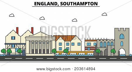 England, Southampton. City skyline: architecture, buildings, streets, silhouette, landscape, panorama, landmarks. Editable strokes. Flat design line vector illustration concept. Isolated icons