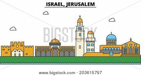Israel, Jerusalem. City skyline: architecture, buildings, streets, silhouette, landscape, panorama, landmarks. Editable strokes. Flat design line vector illustration concept. Isolated icons