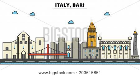 Italy, Bari. City skyline: architecture, buildings, streets, silhouette, landscape, panorama, landmarks. Editable strokes. Flat design line vector illustration concept. Isolated icons