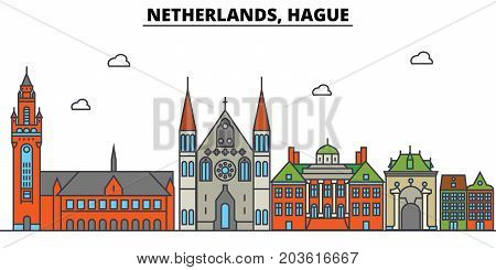 Netherlands, Hague. City skyline: architecture, buildings, streets, silhouette, landscape, panorama, landmarks. Editable strokes. Flat design line vector illustration concept. Isolated icons