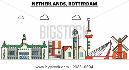 Netherlands, Rotterdam. City skyline: architecture, buildings, streets, silhouette, landscape, panorama, landmarks. Editable strokes. Flat design line vector illustration concept. Isolated icons