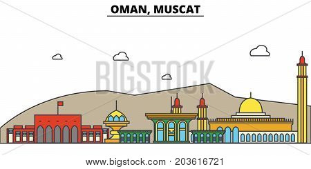 Oman, Muscat. City skyline: architecture, buildings, streets, silhouette, landscape, panorama, landmarks. Editable strokes. Flat design line vector illustration concept. Isolated icons