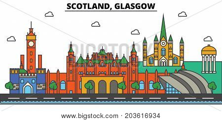 Scotland, Glasgow. City skyline: architecture, buildings, streets, silhouette, landscape, panorama, landmarks. Editable strokes. Flat design line vector illustration concept. Isolated icons