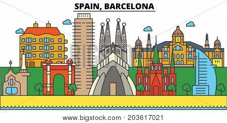 Spain, Barcelona. City skyline: architecture, buildings, streets, silhouette, landscape, panorama, landmarks. Editable strokes. Flat design line vector illustration concept. Isolated icons