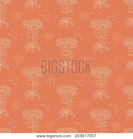 Yellow yarrow. Vintage floral seamless pattern. Vector illustration.