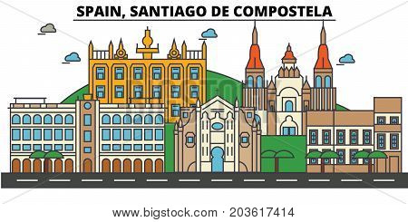 Spain, Santiago De Compostela. City skyline: architecture, buildings, streets, silhouette, landscape, panorama, landmarks. Editable strokes. Flat design line vector illustration. Isolated icons