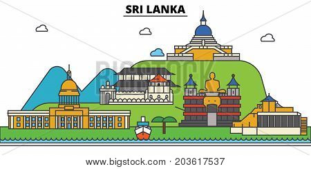 Sri, Lanka. City skyline: architecture, buildings, streets, silhouette, landscape, panorama, landmarks. Editable strokes. Flat design line vector illustration concept. Isolated icons