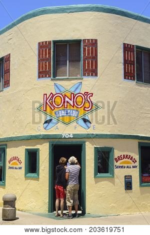 San Diego California USA - July 3 2017: Since 1991 Konos has been a favorite destination for tourists and locals. Breakfast and lunch are served all day. Editorial use only