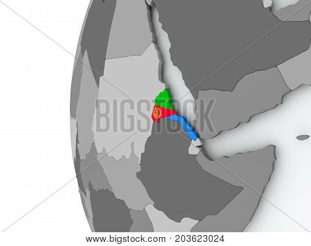 Eritrea On Globe With Flag