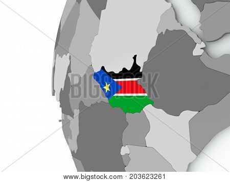 South Sudan On Globe With Flag