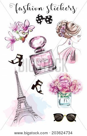 Cute hand drawn set with fashion stickers: beautiful woman, parfume bottle, flowers, shoes, eiffel tower and sunglasses. Stylish stickers collection. Sketch.