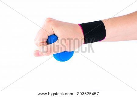 hand with kinesiology tape and stressball.  Physiotherapy and therapeutic tape for wrist pain, aches and tension. elastic therapeutic tape. adhesive tape and alternative medicine. poster