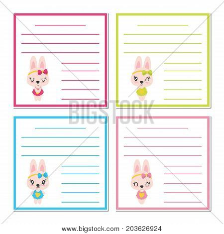Cute bunny girls on colorful frame vector cartoon illustration for kid memo paper design, planner paper and stationery paper