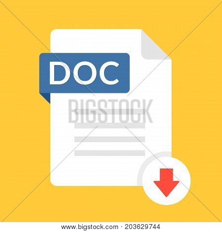 Download DOC icon. File with DOC label and down arrow sign. Text document. Downloading document concept. Flat design vector icon