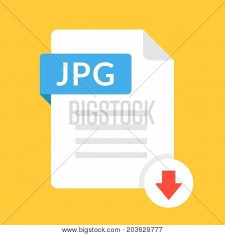 Download JPG icon. File with JPG label and down arrow sign. JPEG document type. Downloading document concept. Flat design vector icon