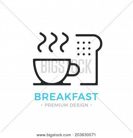 Breakfast icon. Coffee cup and toast. Outline breakfast logo. Sliced bread and cup of coffee. Vector thin line icon isolated on white background