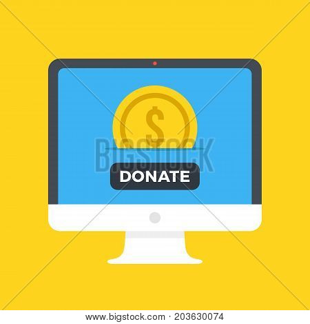Computer with gold coin and donate button on screen. Make donation. Charity, fund raising, fundraising, donation concepts. Front view. Modern flat design vector illustration