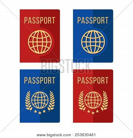 Passports set. 4 different blue and red passport icons isolated on white background. Modern flat design vector illustration