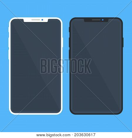 White and black smartphone mockup with black screen. Brand new model. Contemporary design. Mobile phone, smart phone templates set. Modern flat design vector illustration isolated on blue background