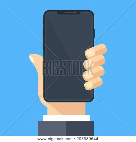 Hand holding black smartphone with black screen. Mobile phone, cellphone mockup. Brand new model. Frameless, bezel-less design element. Flat design vector illustration isolated on blue background