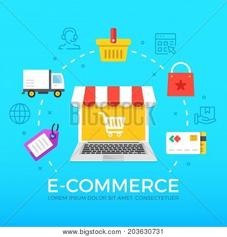 E-commerce flat illustration concept. Laptop with shopping cart. Creative flat icons set, thin line icons set, graphic elements for web banners, web sites, infographics. Modern vector illustration