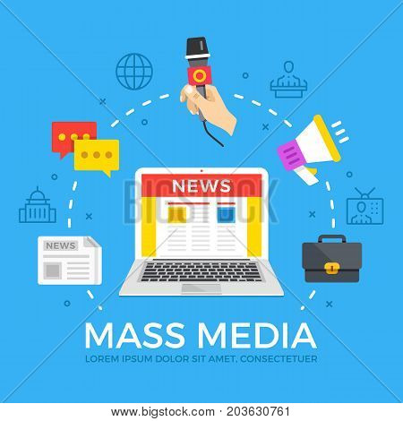 Mass media flat illustration concept. Laptop with online news website. Creative flat icons set, thin line icons set, graphic elements for web banner, web site, infographics. Modern vector illustration