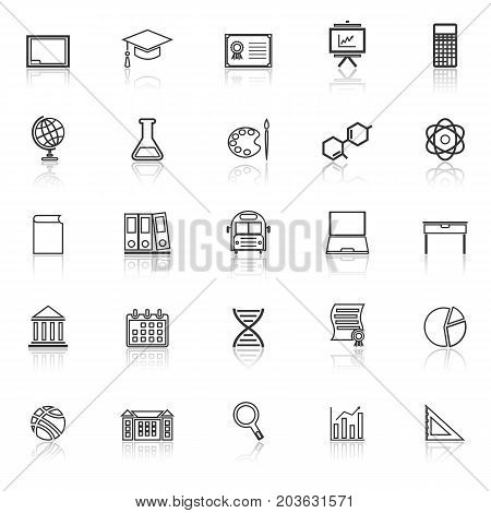 Education line icons with reflect on white background, stock vector