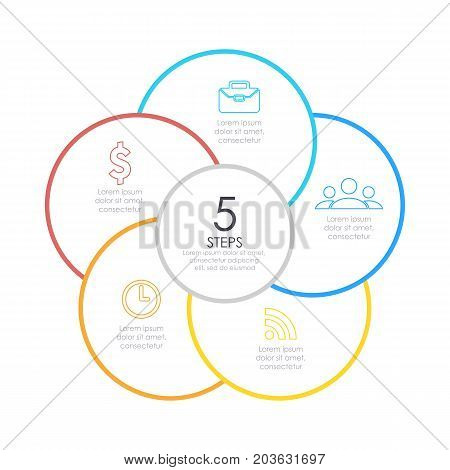 Outline round infographic. Circle diagram with 5 element, steps or options. Business concept.